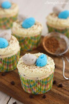 Chocolate Chip Angel Food Cupcakes with Vanilla Cream - afarmgirlsdabbles.com #cupcakes #cupcakeideas #cupcakerecipes #food #yummy #sweet #delicious #cupcake