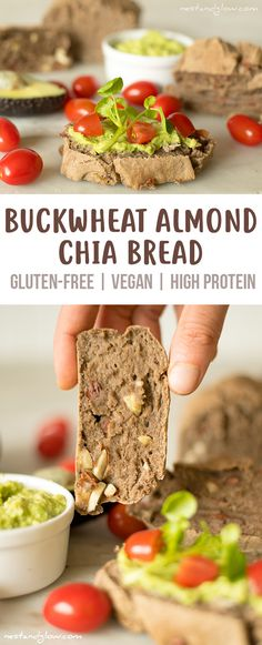 Buckwheat Almond Chia Bread Recipe - Gluten-free, Vegan and High Protein via @nestandglow