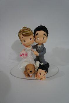 noivinhos topo de bolo com filha e pet