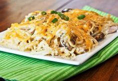 chicken noodle casserole -spaghetti 8 oz,2 T Butter 1 1/2 C Fresh Mushrooms,sliced 1/2 C  onion, Fine Chop,2 10.75 oz cans cream chicken soup,1C sour cream, 1C shred sharp cheddar cheese,1 cooked rotisserie chicken shred Oven 350 deg cook pasta aldente,drain set aside,sauce pan melt butter saute mushrooms&onion to soft,Large bowl mix soup&sour cream until blended cooked, mix mushrooms,onion,chicken, spaghetti fold until evenly coated Pour in 9x13 dish top with  cheese, bake 30 mins until…