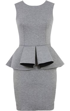 Executive Peplum Dress: Features a high quality heather grey foundation, sleek body-conscious fit, two-tone peplum ruffle at waist with black contrast lining, and a centered rear zip closure to finish.