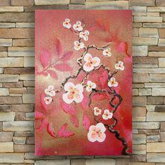 "Red Cherry blossoms Original small Painting Art 21 by KSAVERA 8""x12"" Flowers Art Nouveau Sakura painting on canvas birthday for mom her by KsaveraART #TrendingEtsy"