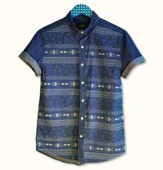 Kısa Kollu Baskılı Aztek Jean Gömlek