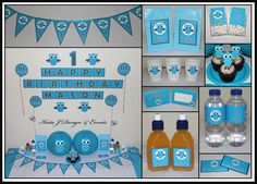 Owls Owl Personalised Birthday Party Decorations Supplies Packs Shop Online Australia Banners Bunting Wall Display Cupcake Toppers Chocolate Wrappers Juice Water Pop Top Labels Posters Lanterns Invites Cup Stickers Ideas Inspiration Cake Table Katie J Design and Events First Birthday Baby Shower Boy Boys Blue