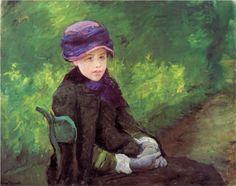 Susan Seated Outdoors Wearing a Purple Hat - Mary Cassatt, c.1881