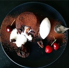 70% Dark Chocolate Fondant Cherry  White Chocolate Center Vanilla Ice Cream