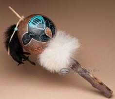 Native American Rattles -Rawhide, Gourd, Turtle