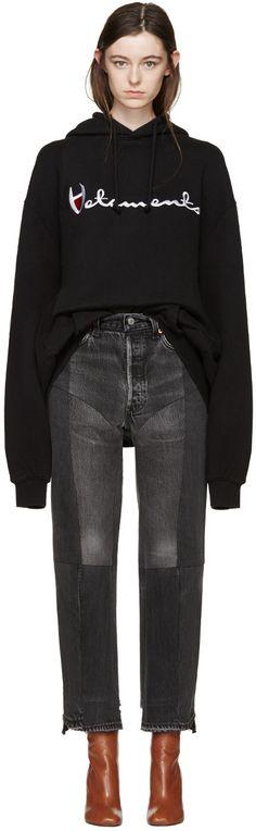 Vetements - Black Oversized Logo Hoodie
