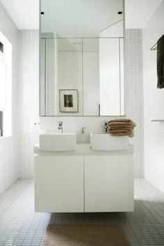 Wastafel met douche erachter. Handoeken aan elke zijkant.
