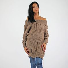 PinkCad Light Brown Cable Knit Bardot Off The Shoulder Style Jumper www.pinkcadillac.co.uk