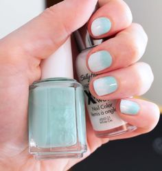 Nail Tutorial: Ombre Sea-foam Green and White  THIS IS MY NIECE...she's awesome