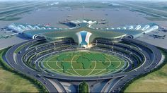 Международный аэропорт г. Ашхабад Landscape Architecture Design, Unique Architecture, Concept Architecture, Futuristic Architecture, Unique Buildings, Amazing Buildings, Commercial Landscape Design, Hadid Architect, Airport Design
