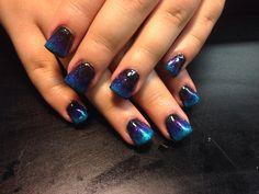 Black, purple, blue and turquoise ombré nails