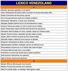 Léxico venezolano | Una recopilación bastante amplia y con definiciones de tono casi académico para las voces peculiares del español de Venezuela. #Venezuela #SpanishSlang #LearnSpanish