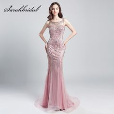 Blush Pink Mermaid Prom Dresses O Neck Beaded Crystals Long Tulle Vestido De  Noiva Women Formal Celebrity Evening Gowns Price history. 8f1b16913df0