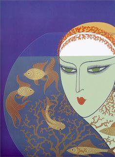 Fish Bowl - Erte - by style - Art Deco Arte Art Deco, Moda Art Deco, Art Deco Artists, Estilo Art Deco, Art Deco Print, Art And Illustration, Antique Illustration, Art Nouveau, Art Beauté
