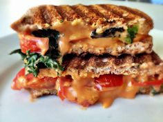 Truffle Oil Grilled Cheese with Kale and Tomato
