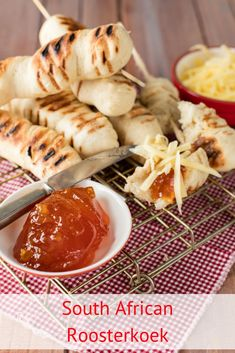 We love roosterkoek – the South African bread that is cooked over the braai – and we love serving it with butter, cheese and generous dollops of our favourite flavour of jam. South African Dishes, South African Recipes, Braai Recipes, Cooking Recipes, Kos, Ma Baker, Pain, Street Food, The Best