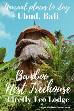 Unusual places to stay in Ubud, Bali: a bamboo nest treehouse in the ricefields at Firefly Eco Lodge - Temples and Treehouses Beautiful Places To Travel, Beautiful Hotels, Unique Hotels, Quirky Places To Stay, Places To Go, Travel Inspiration, Travel Ideas, Travel Plan, Travel