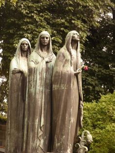 Cemetery art in Medellin, Columbia. The three queens that took King Arthur to Avalon, or Faith, Hope, and Charity?