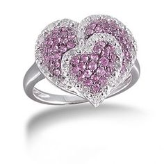 1/5 Ct Round Pink Sapphire & Diamond Sterling Silver Double Heart Cluster Ring by JewelryHub on Opensky
