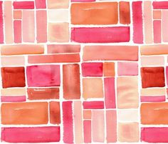 Texas Modern Crop Squares Coral fabric by jacinda for sale on Spoonflower - custom fabric, wallpaper and wall decals