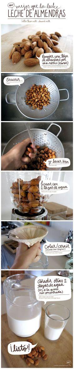 Como hacer leche de almendras #saludable #snack                                                                                                                                                                                 Más