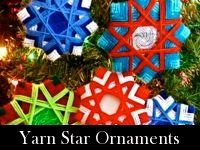 Christmas ornaments.  these are great for kids and using up leftover yarn