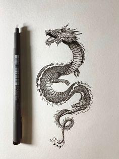 Mini Tattoos, Body Art Tattoos, Small Tattoos, Sleeve Tattoos, Cool Tattoos, Tatoos, Dragon Tattoo For Women, Dragon Tattoo Designs, Tattoos For Women