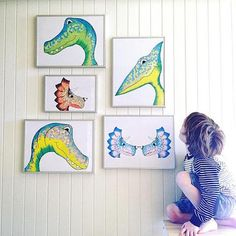 Hand illustrated dinosaur prints by Dinoraw