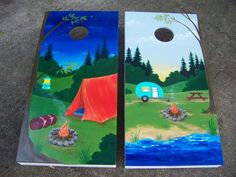 Woodstock Corn Hole Games - Custom hand painted mural camping set