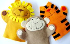 Lion, Monkey, & Tiger Felt Hand Puppets | Sewing Pattern | YouCanMakeThis.com