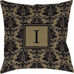Thumbprintz Damask Monogram Decorative Pillow, Black and Gold
