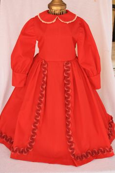 Red Vintage Antique Doll Gown for your antique by DollyCrush
