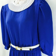 Vintage New Division Women's Dress Blue White Stripe Secretary Long Sleeve Belt #DIVISIONE #TeaDress #Casual