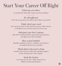 Start Your Career Off Right: As excerpted from Matt Furey on Fast Company Career Success, Career Goals, Career Advice, Career Planning, Life Skills, Life Lessons, Job Interview Tips, Jobs, Career Development