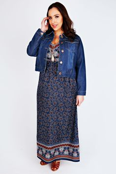 Blue & Orange Paisley Border Print V-Neck Maxi Dress