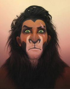 """http://www.revelist.com/bloggers/makeup-artist-disney-villains/4396/Just look at her rendition of Scar from """"The Lion King.""""/1/#/1"""