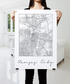 KANSAS CITY Map Print Modern City Poster Black and by PFposters