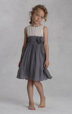 Grey and white flower girl dress