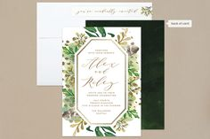 """Bohemian Beauty"" - Foil-pressed Wedding Invitations in Garden by AK Graphics."