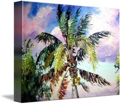 """""""Palm Tree Oil Painting"""" by Mazz Original Paintings, Florida // A palette knife made palm tree made with thick oil paints and and beautiful clouds.....from the Original Oil painting by Florida Artist Mazz.  His artwork is collected worldwide. <br> Artwork  Copyright 2008 Mazz Art<br><b><br>Buy a Museum quality giclee fine art print on Pr... // Imagekind.com -- Buy stunning fine art prints, framed prints and canvas prints directly from independent working artists and photographers."""