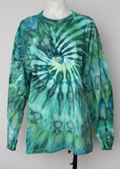 $40 - Tie dye Men's long sleeve tee shirt - size XL - Mermaid's Tale twist Find this item on https://a-spoonful-of-colors.myshopify.com/
