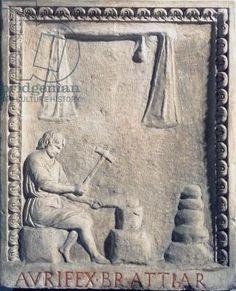Goldsmith in his shop, relief, Roman, 1st century (stone)