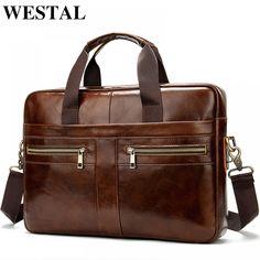 WESTAL Bag men's Genuine Leather briefcase Male man laptop bag natural Leather for men Messenger bags men's briefcases 2019  Price: 53.92 & FREE Shipping  #hashtag4 Leather Laptop Bag, Leather Briefcase, Laptop Bags, Laptop Shoulder Bag, Leather Shoulder Bag, Shoulder Strap, Shoulder Bags, Office Bags For Men, Mens Crossbody Bag