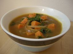 african kale & yam soup - This is the soup version of my recipe for African Kale & Yams Mash in my e-cookbook, Pudge Free Holidays. The beautiful thing about this soup (aside from how healthy it is!) is the ethnic feel to it. You just feel so warm and centered after eating a bowl and it tastes like it was delicately cooked all day when really it's done in about 20 minutes. The broth is by far the best part -- you'll be drinking every last drop, I promise.
