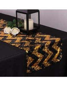 Chevron Sequin Table Runner Black/Gold