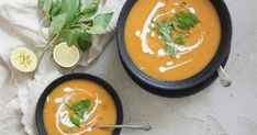 This Thai-Style Sweet Potato Soup by Bella features roasted vegetables for extra flavour! Best Soup Recipes, Fall Recipes, Potato Recipes, Lunch Recipes, Vegetable Recipes, Summer Recipes, Steam Recipes, Light Recipes, Liquid Meals