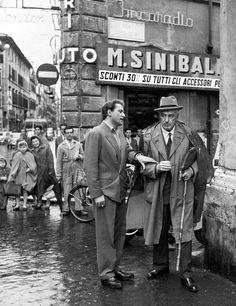 Vittorio De Sica, with Domenico Modugno. Italian Neorealism, Pier Paolo Pasolini, Cinema Theatre, Singing In The Rain, John Kennedy, Celebrity Portraits, Ancient Rome, Vintage Italian, World History
