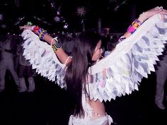 this is a good idea for wings that you dont want smacking other people in the face at a rave . Rave Festival Outfits, Festival Gear, Festival Costumes, Festival Looks, Festival Fashion, Festival Style, Rave Accessories, Rave Costumes, Halloween Costumes